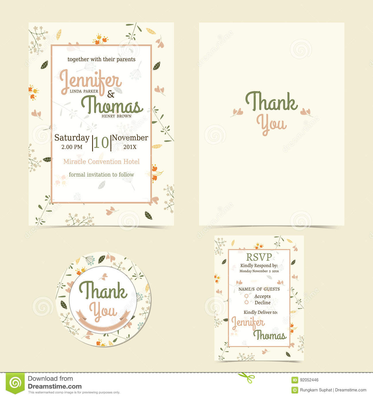 Invitation Or Wedding Card With Adorable Floral Background