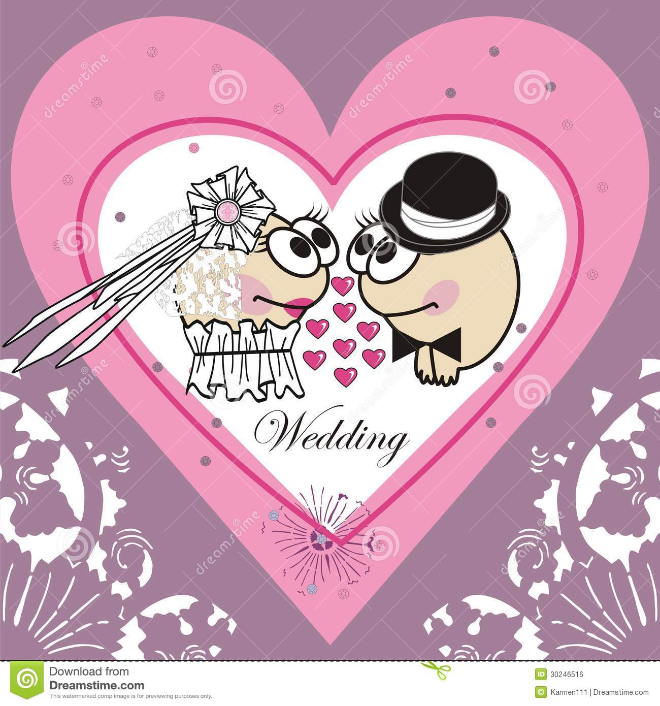 Invitation wedding card (Animated cartoon).