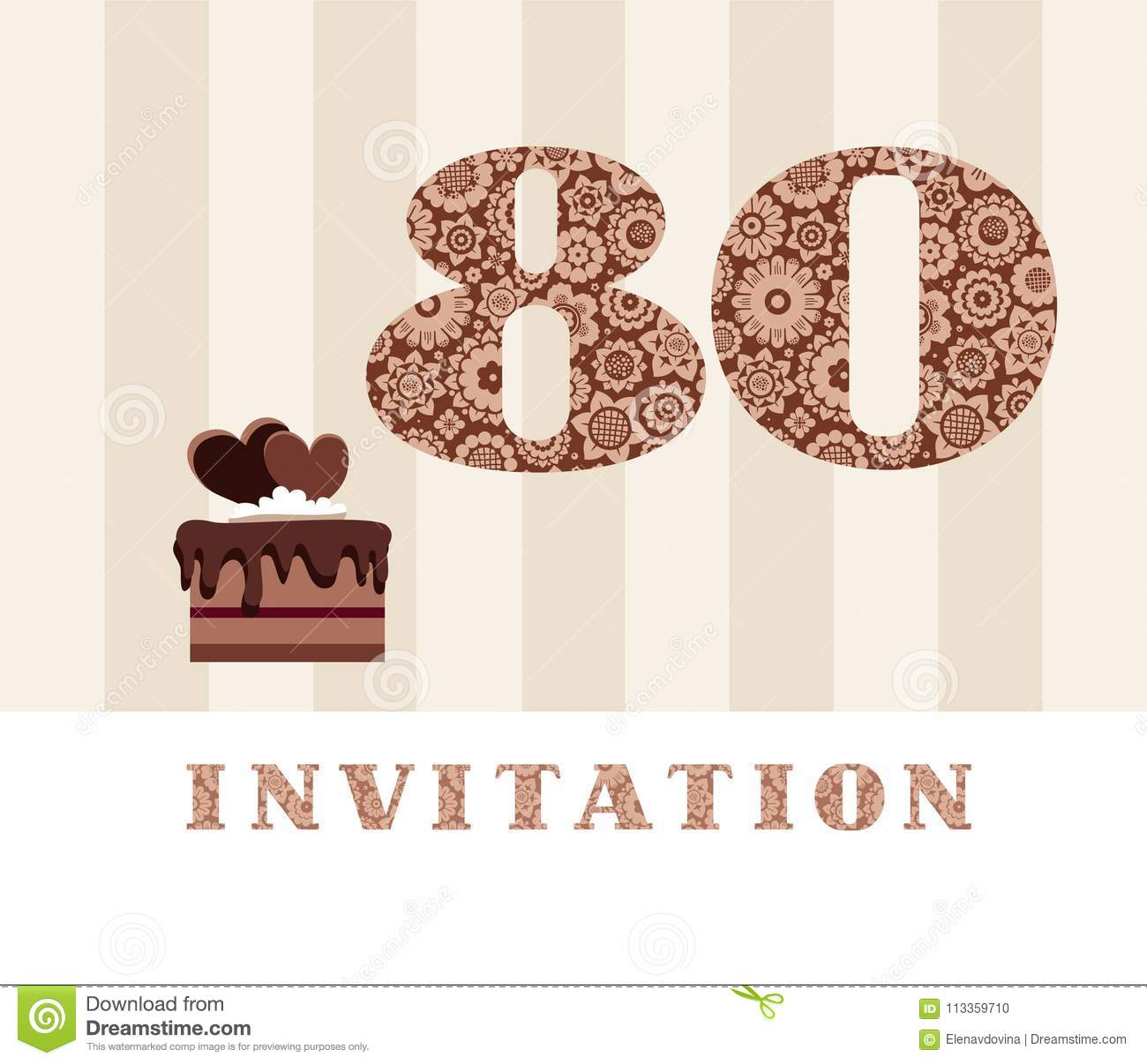 Invitation 80 Years Old Chocolate Cake Heart Vector