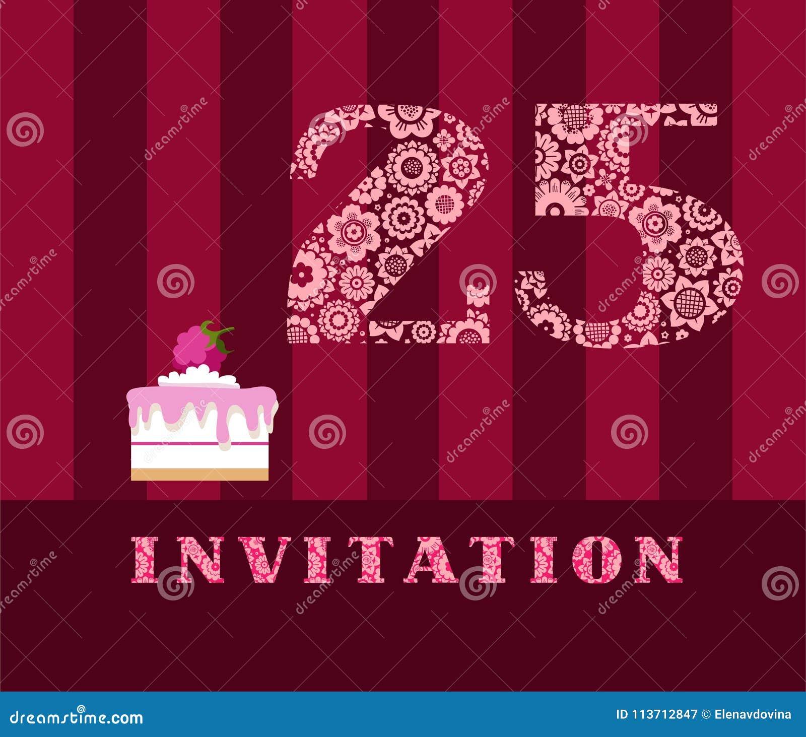 Invitation, 25 Years Old, Raspberry Pie, Vector, English. Stock ...