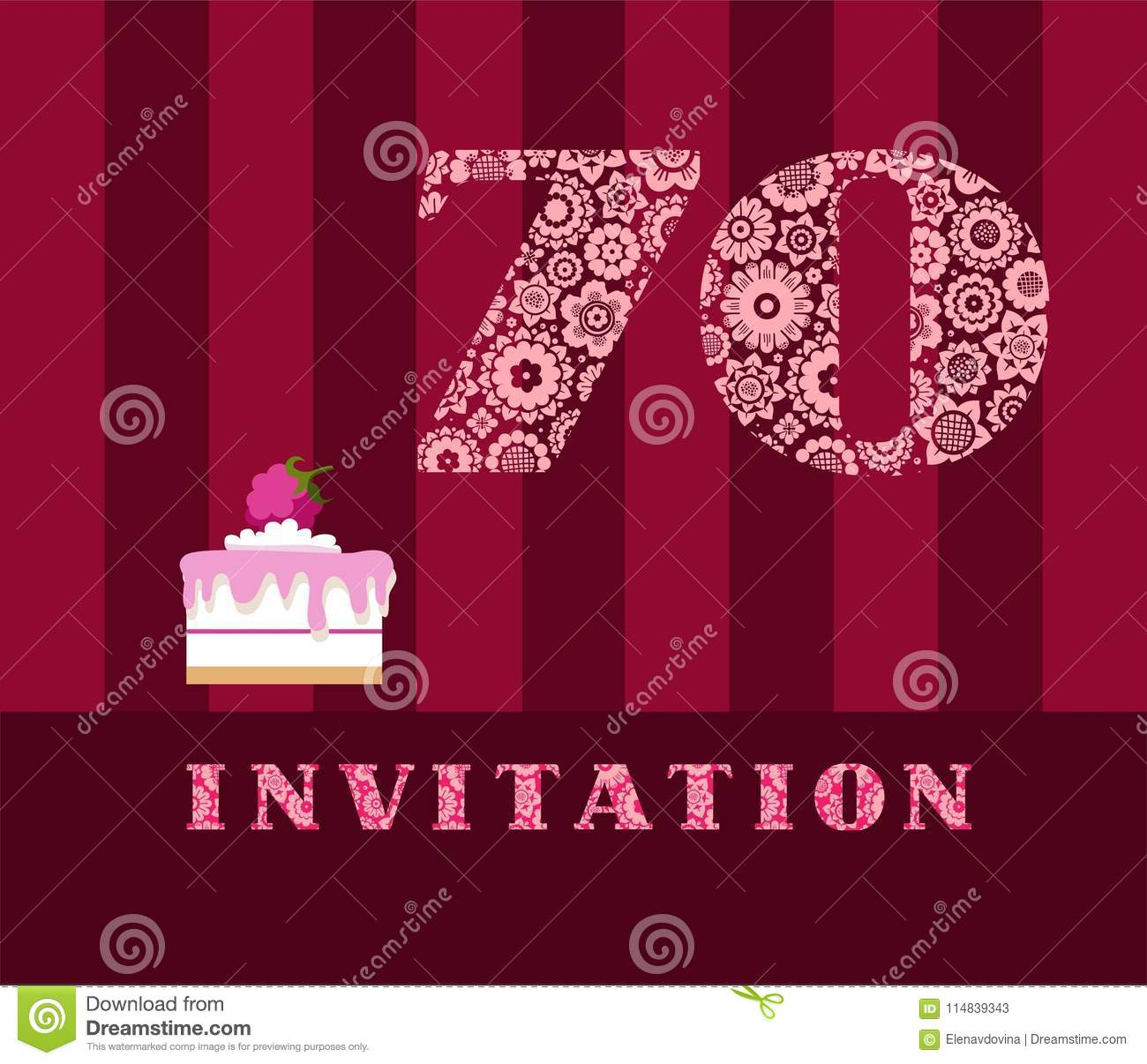 Invitation 70 Years Old Raspberry Pie Vector English