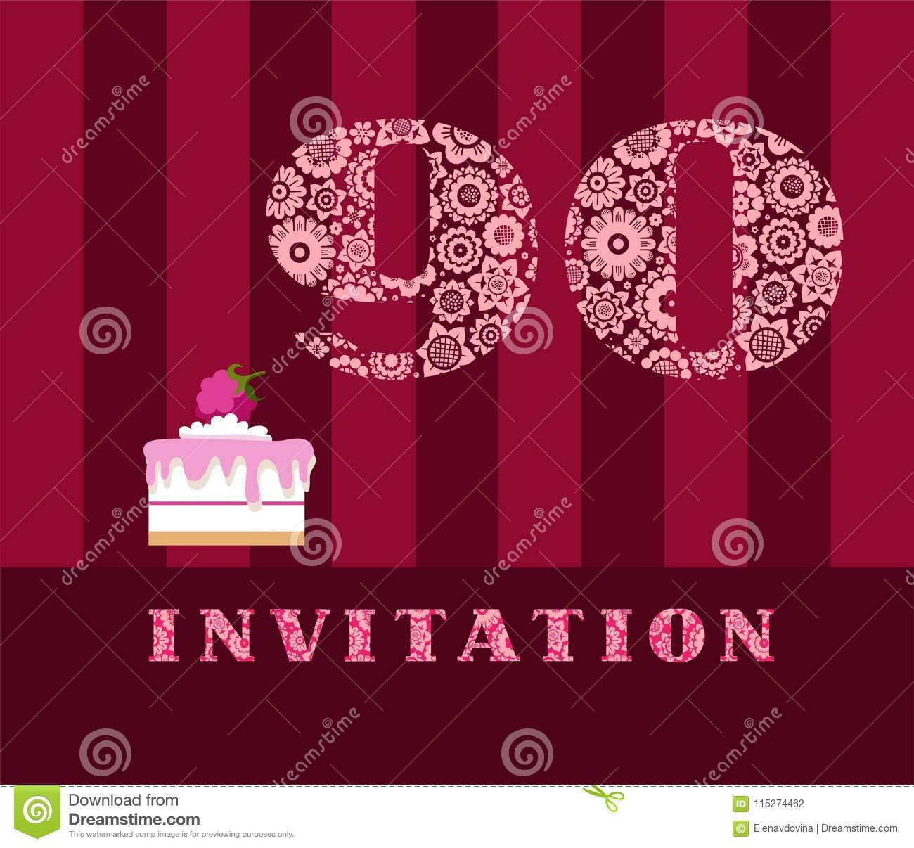 Invitation 90 Years Old Raspberry Pie Vector English