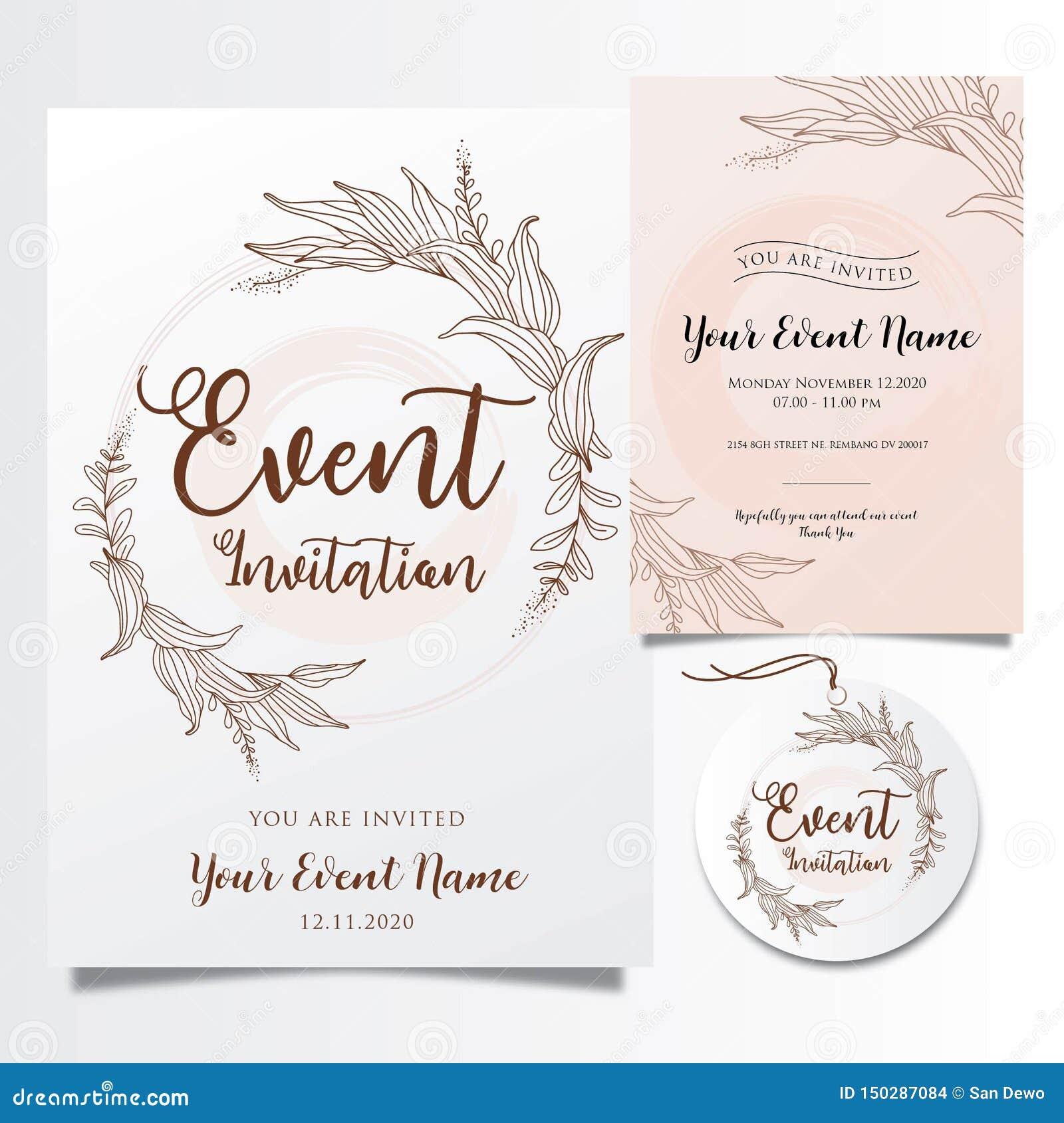 Invitations Editable d événement avec les lignes élégantes élégantes de fleur