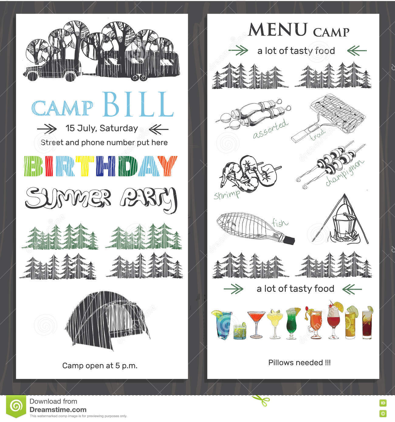 Invite For Children Birthday In The Camping Template Brochure F