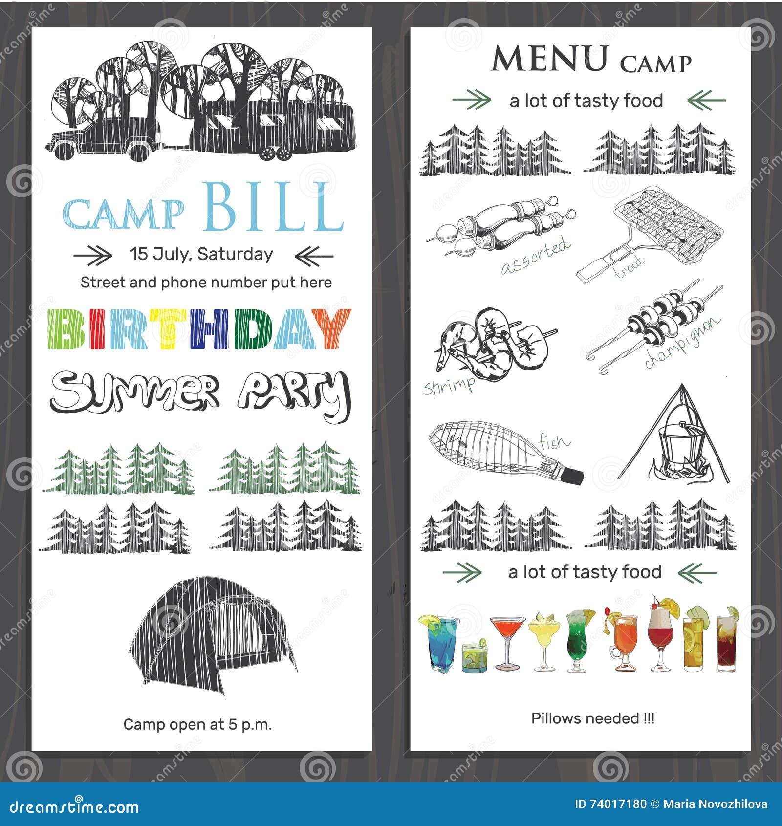 Invite Para El Cumpleaños De Los Niños En Acampar Folleto F De La ...