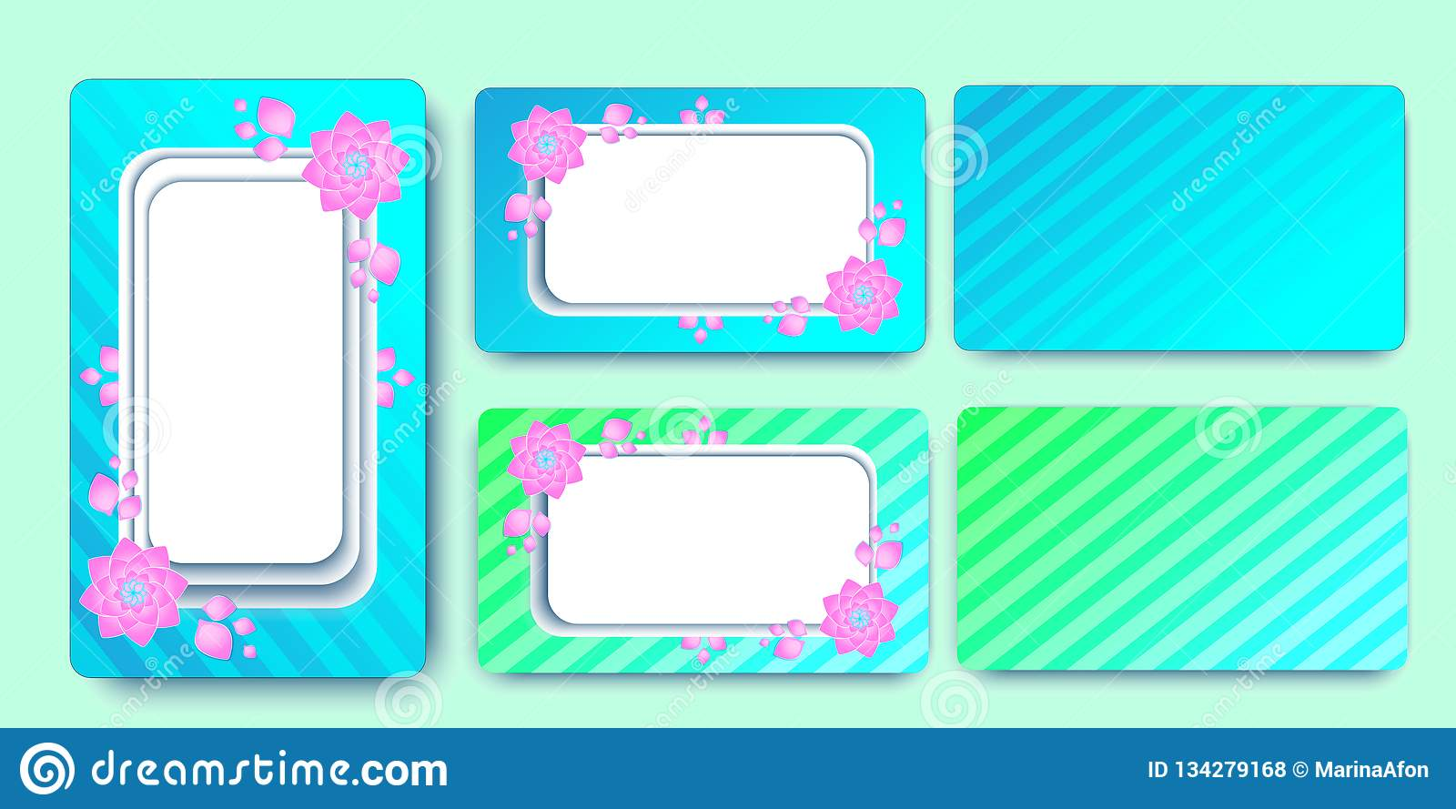 Invite wedding cards template flowers. Colored stripes. EPS 10 vector illustration.