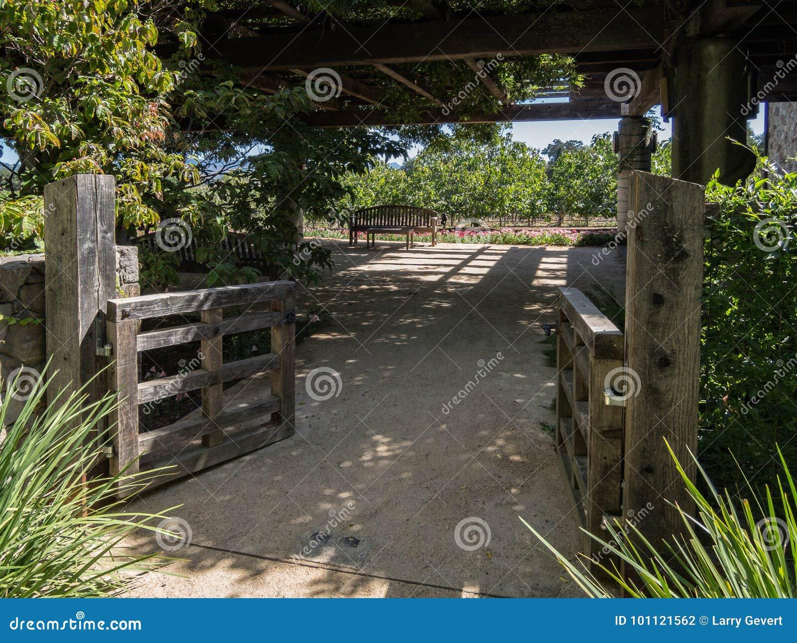 Inviterande trädgårds- uteplats