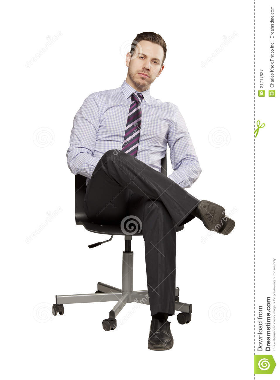 Inviting Business Man Sitting On Chair Stock Image - Image ...
