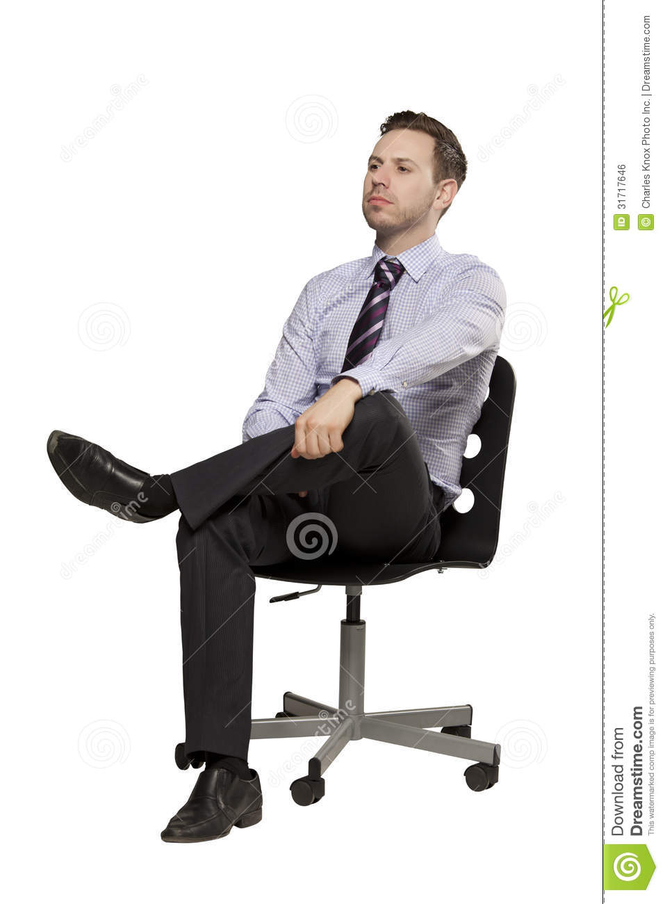 Inviting Business Man Sitting On Chair Royalty Free Stock