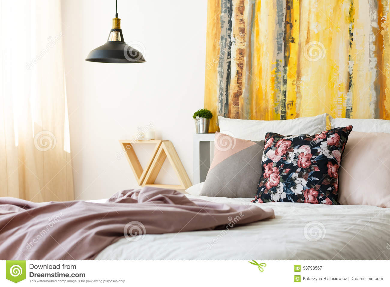 Bedroom With Earthy Color Palette Stock Image - Image of ...