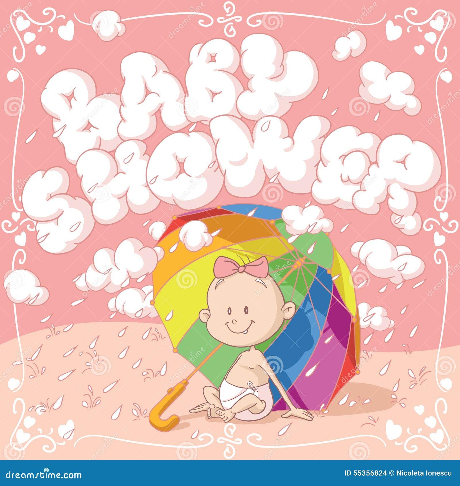 Invito del fumetto di vettore della doccia di bambino