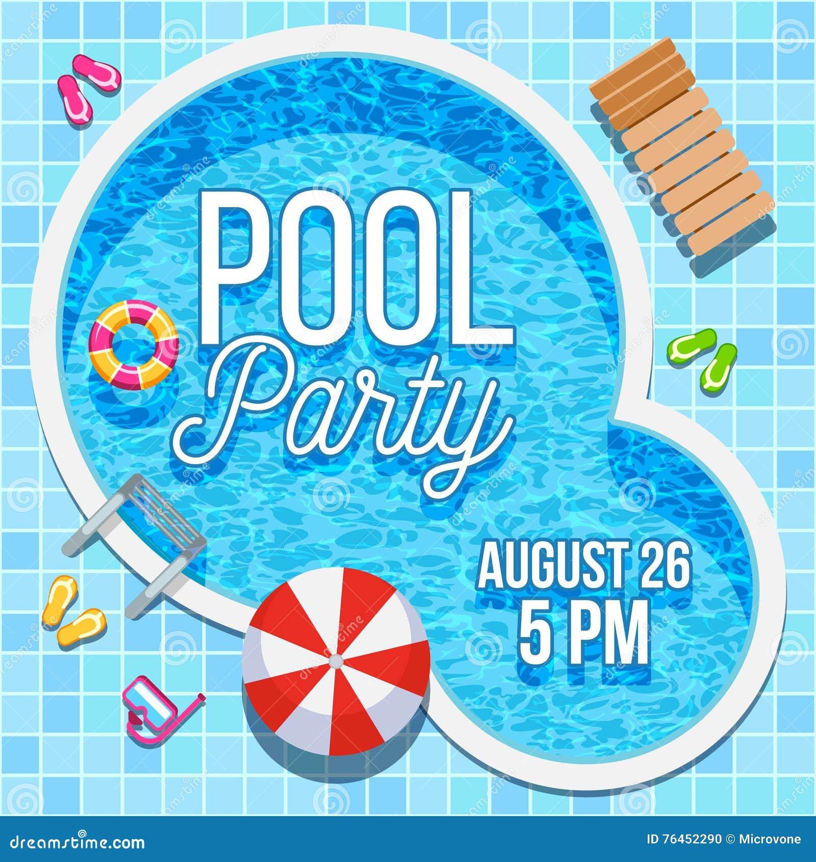 Invito del partito di estate con il modello di vettore della piscina