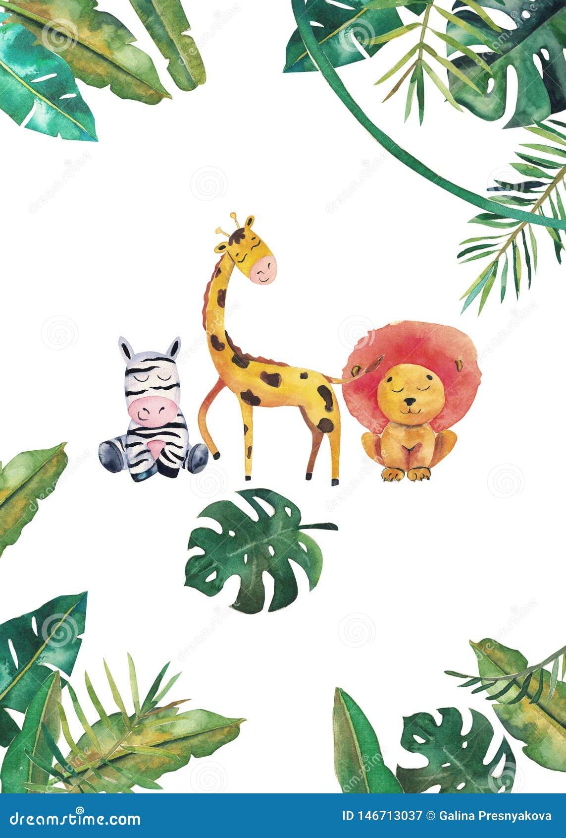 Invito dell acquerello con gli animali selvatici e le foglie della giungla Illustrazione disegnata a mano dei bambini