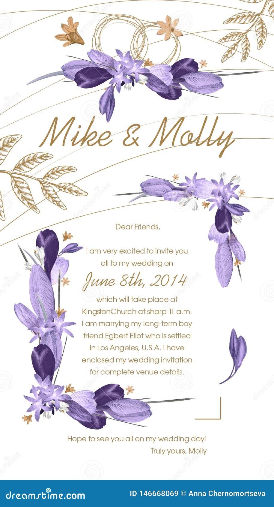 Invito di nozze con le strutture viola floreali