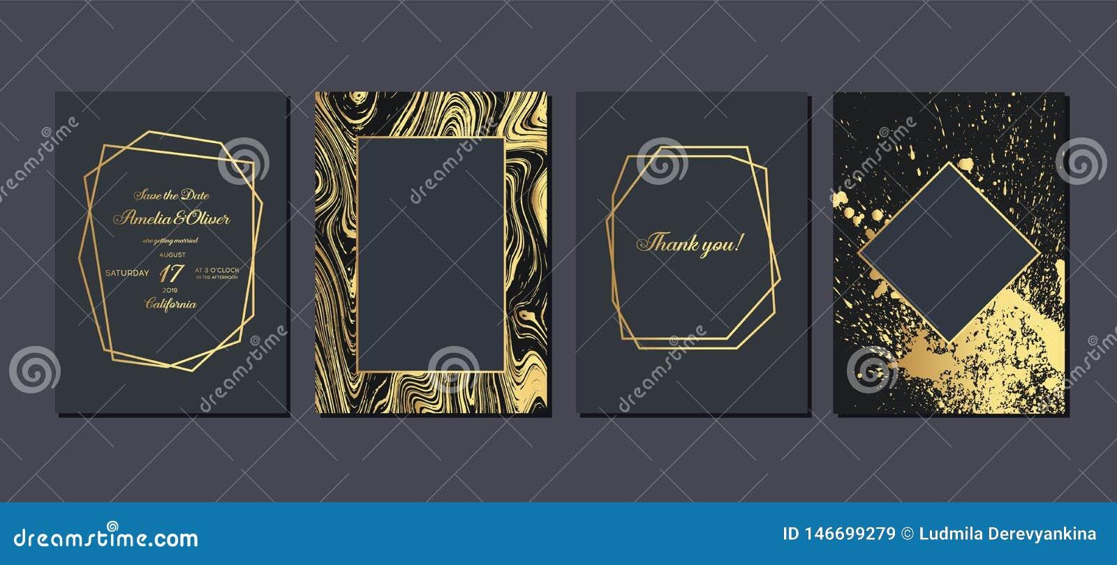 Invito di nozze dell oro Carte di lusso dell invito di nozze con struttura di marmo dell oro e progettazione geometrica di vettor