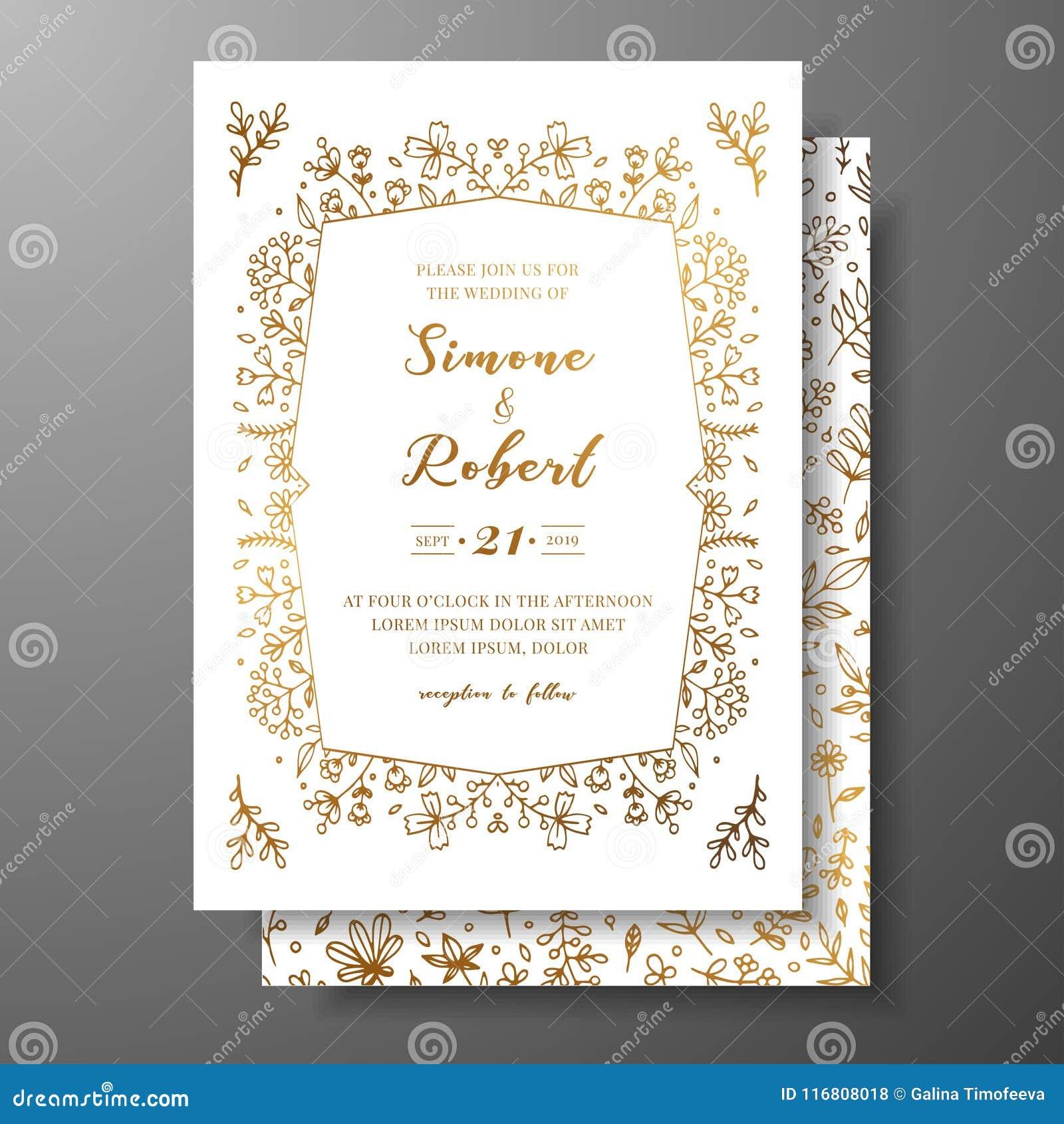 Invito dorato di nozze di vettore con i ramoscelli, i fiori e i brahches disegnati a mano Modello botanico dorato per nozze
