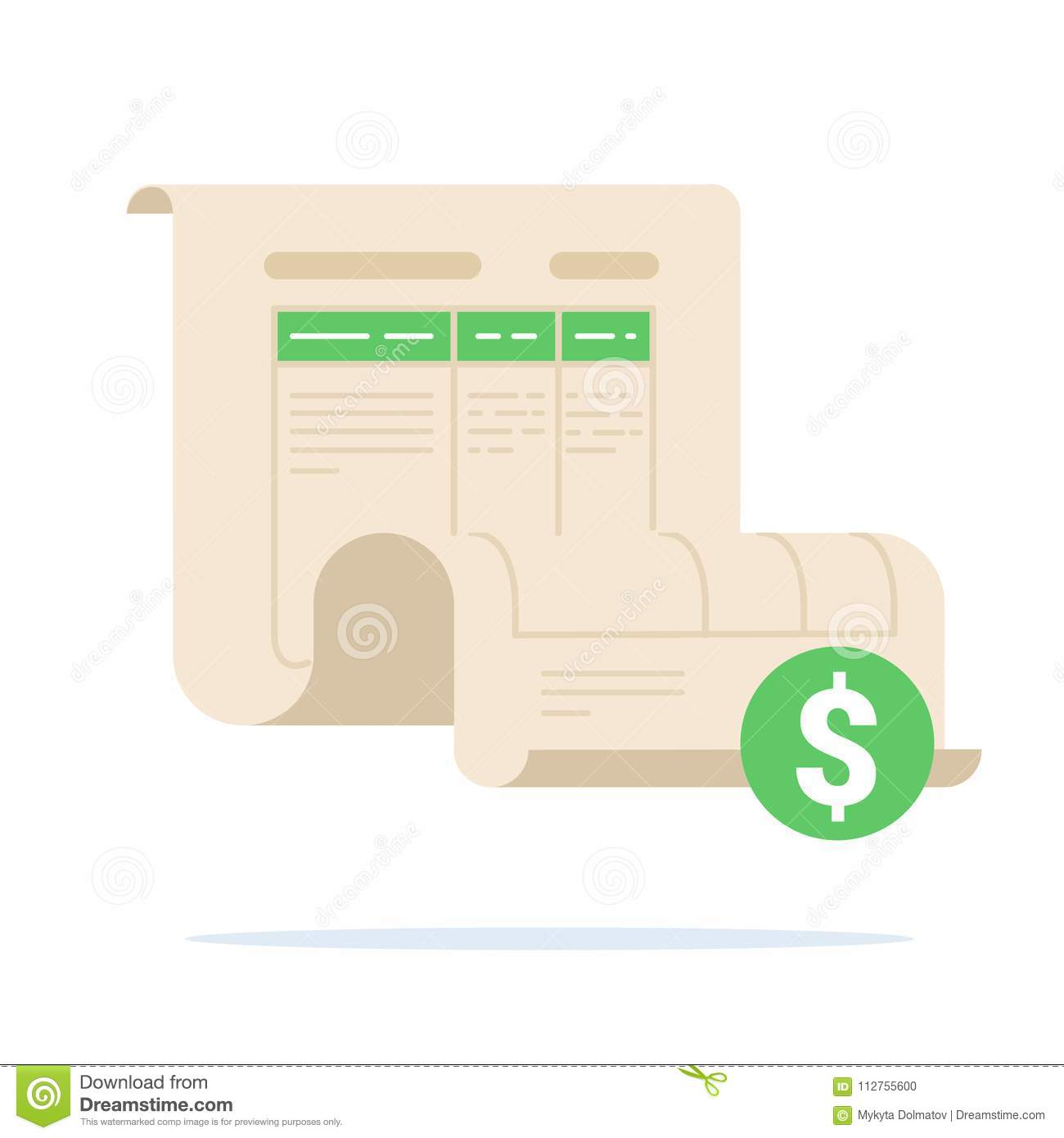 invoice concept bill illustration commercial payment document