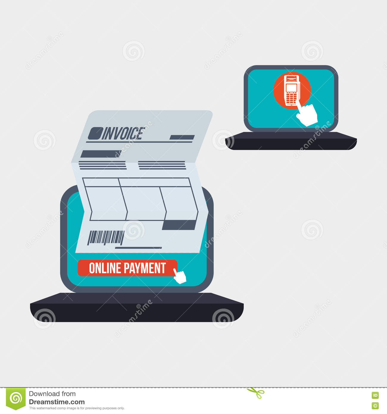 Invoice Design Online Payment Isolated Illustration Vector Stock