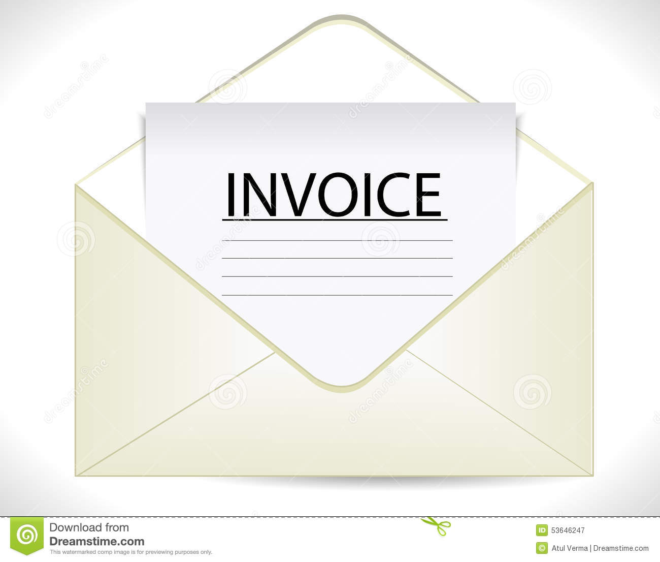 invoice with envelope  business document icon stock vector