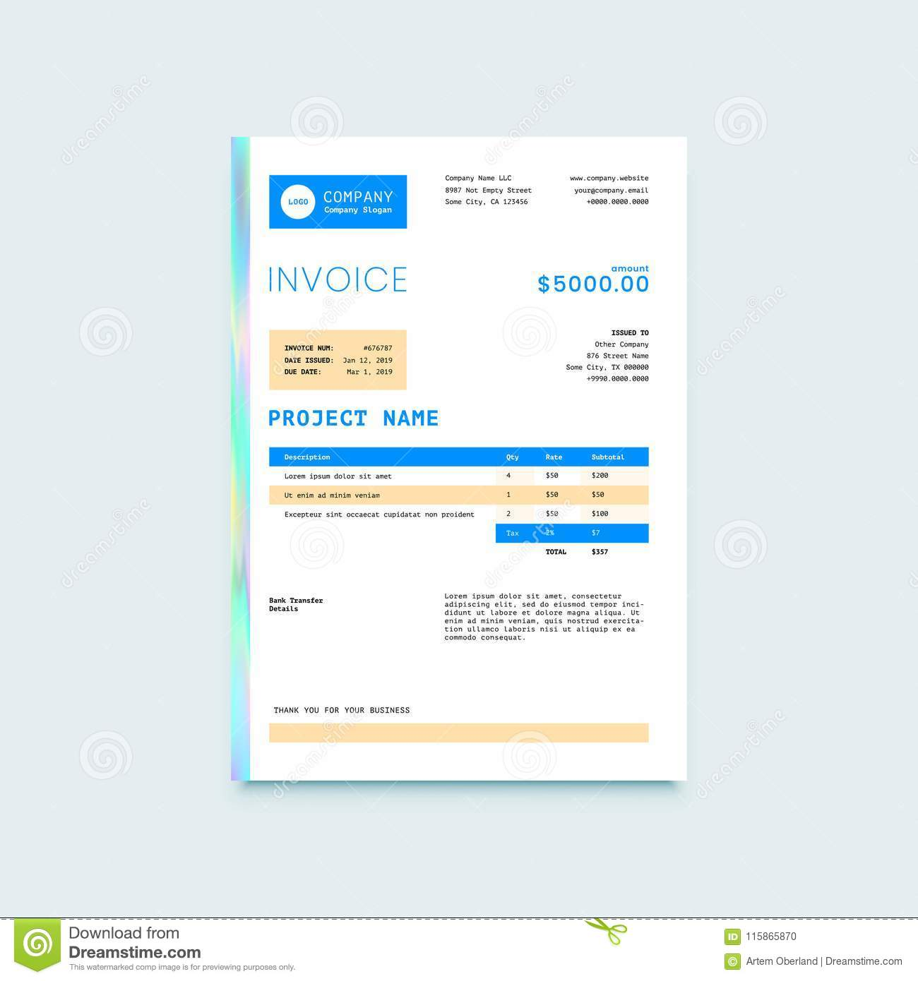 Invoice Form Design Template Stock Vector Illustration Of Blank