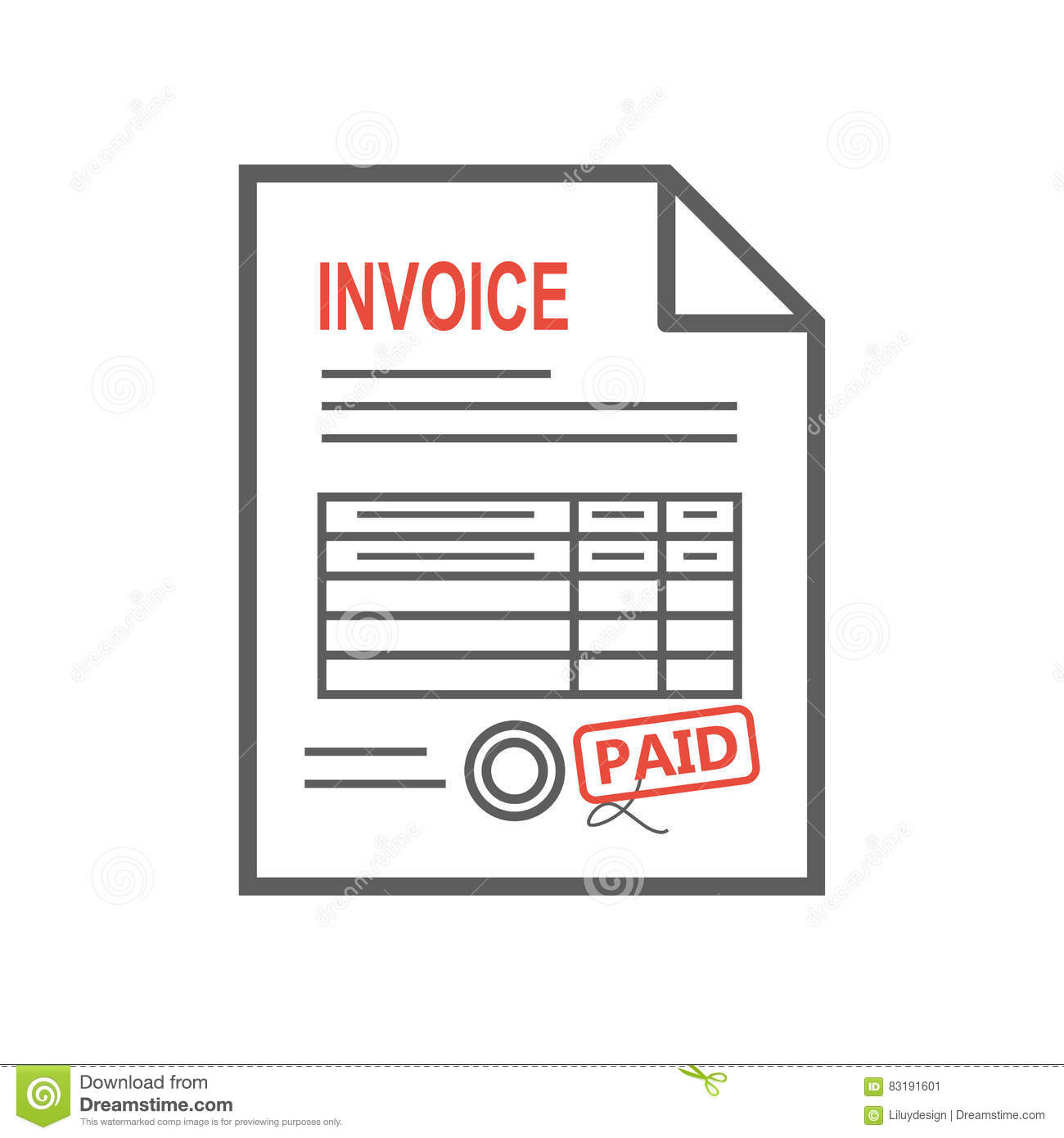 Invoice icon in the flat style, isolated from the background. Thin line