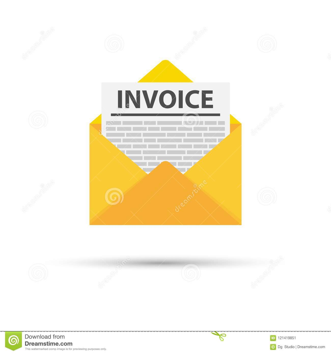 invoice icon vector email message received with bill document flat