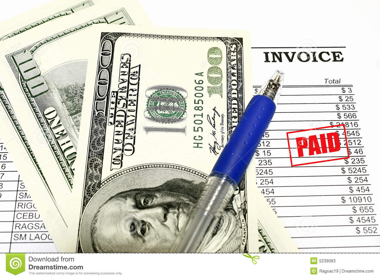 Invoice is Paid concept dollar invoice receipt and paid stamp.