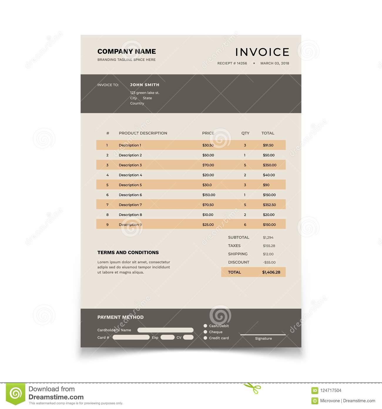 Invoice template bill form with data table and tax bookkeeping download invoice template bill form with data table and tax bookkeeping vector document design maxwellsz