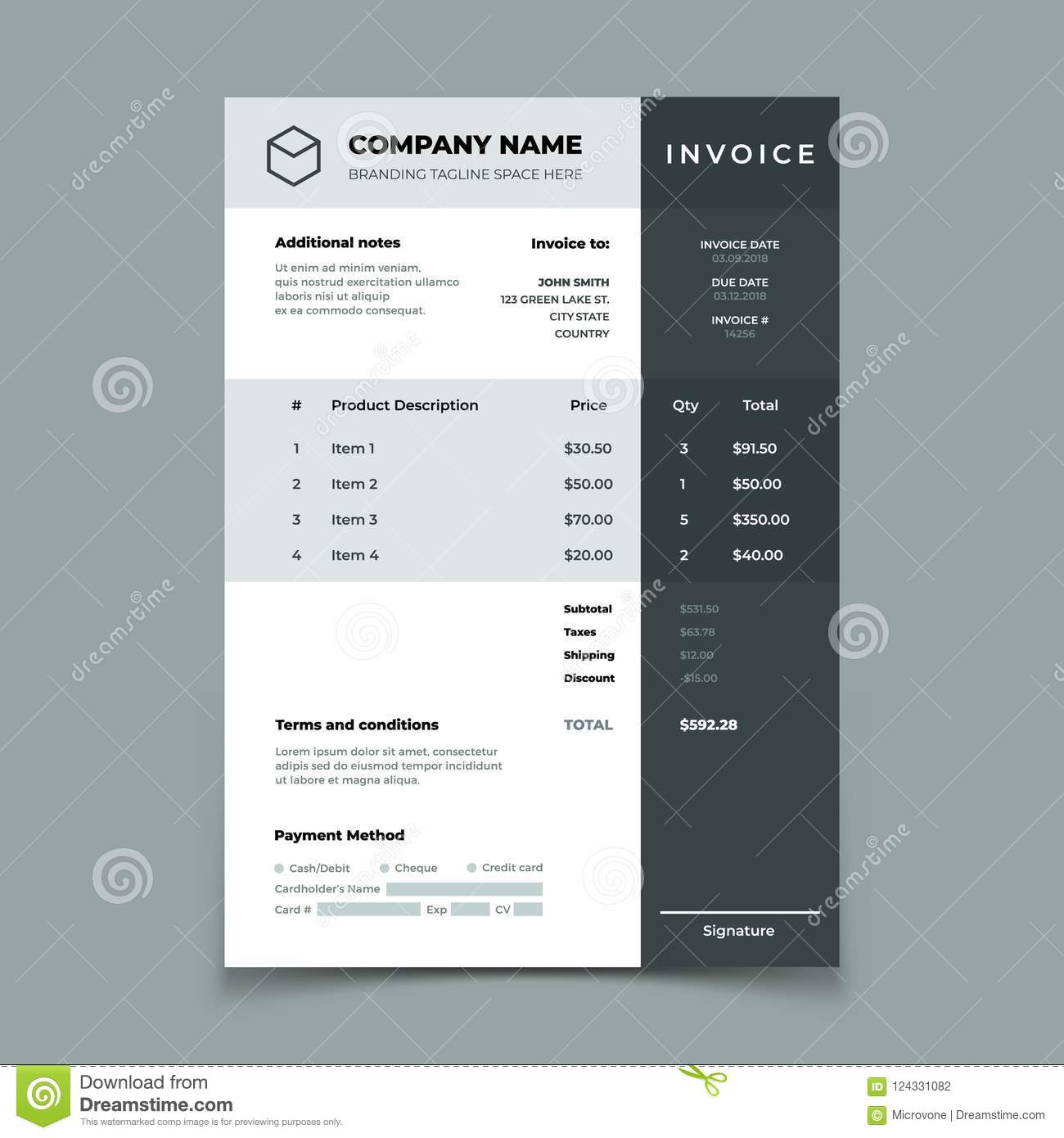 invoice template bill with price table paper order bookkeeping service document quotation vector