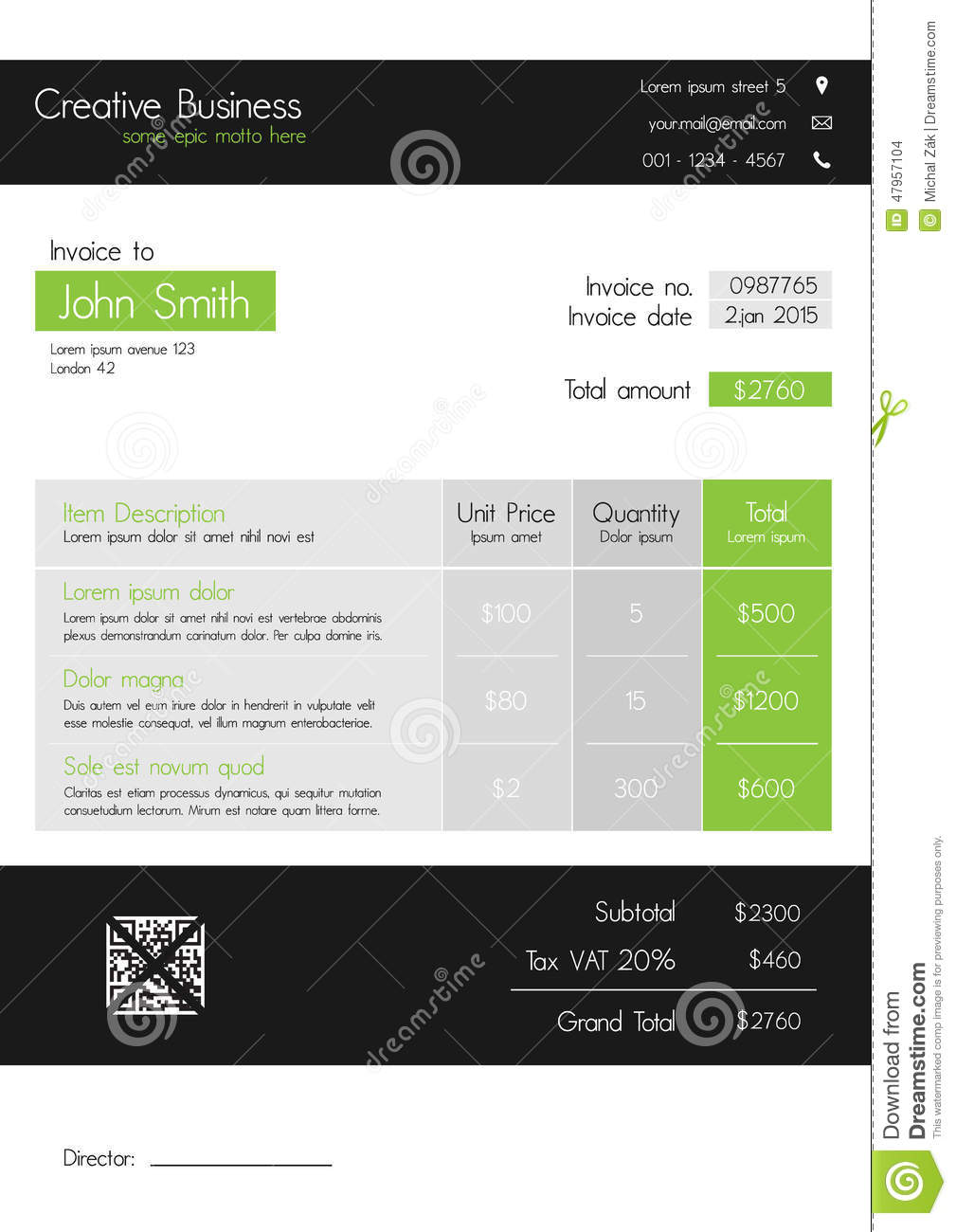 Invoice Template Clean Modern Style Of Green And Grey