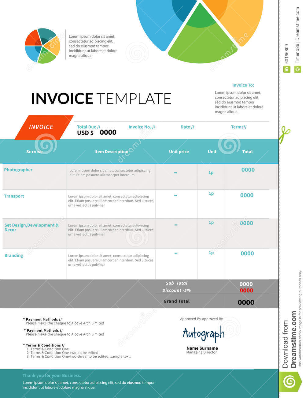 invoice template design stock vector illustration of editable