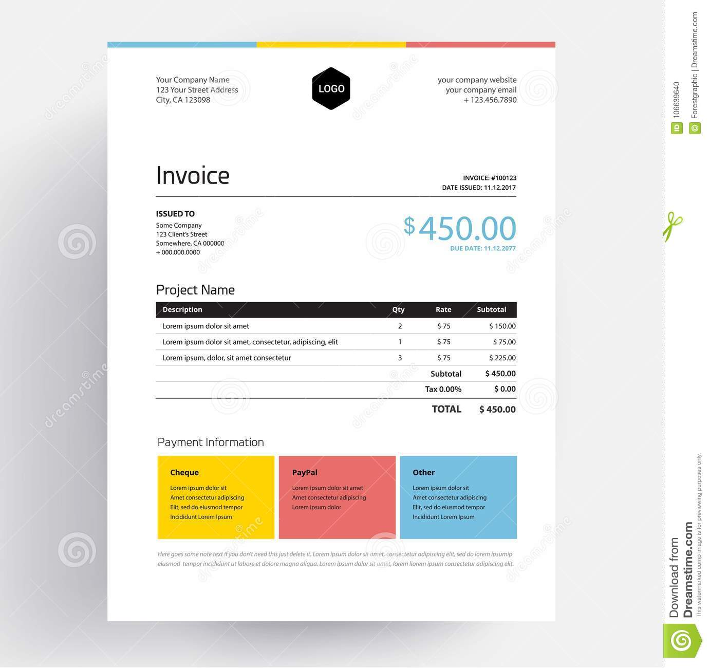 Invoice template design in minimal style creative colorful busness invoice template design in minimal style creative colorful business template in three colors yellow blue red thecheapjerseys Image collections