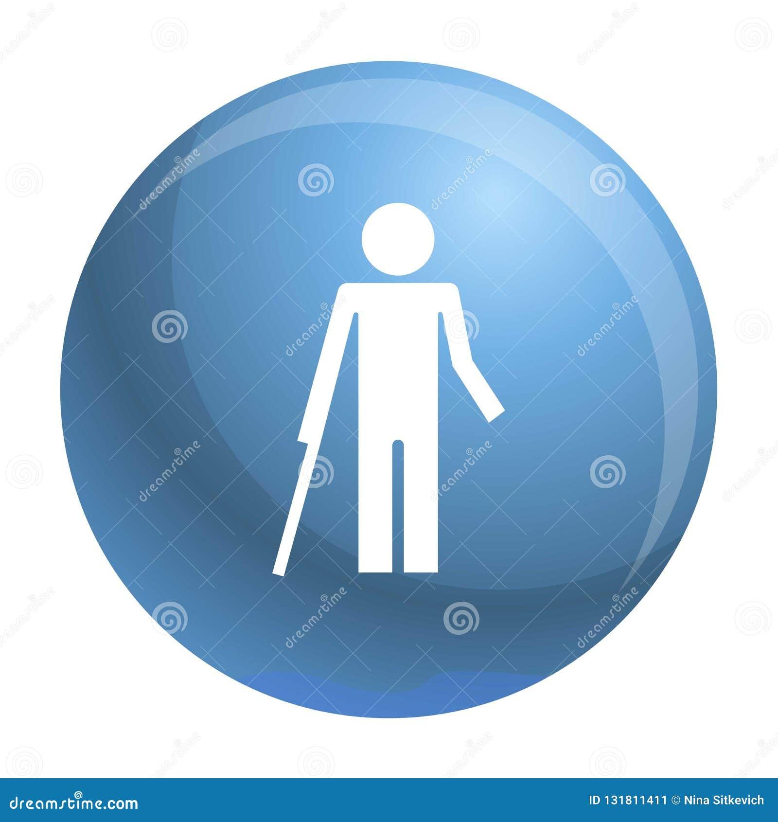 Inwalidzka osoba i zdrowa dzieciak ikona, prosty styl
