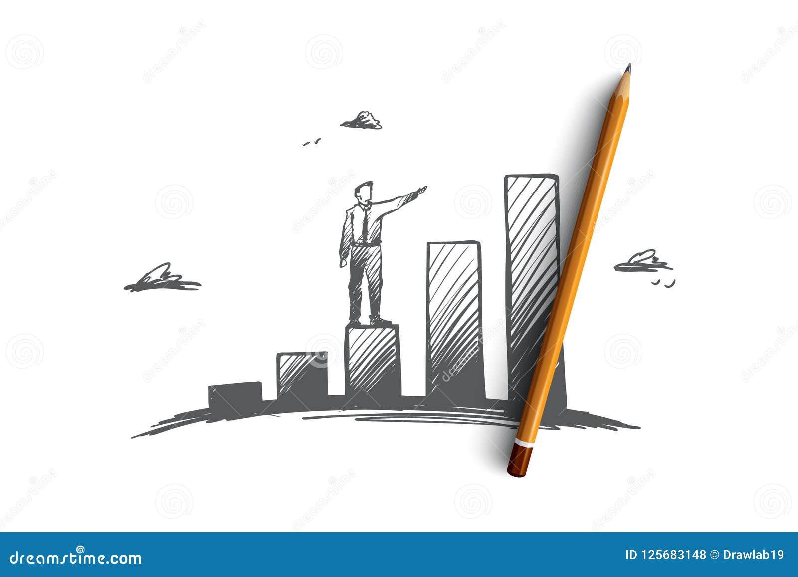 Inwestycje, zysk, perspektywa, biznes, wzrostowy pojęcie Ręka rysujący odosobniony wektor