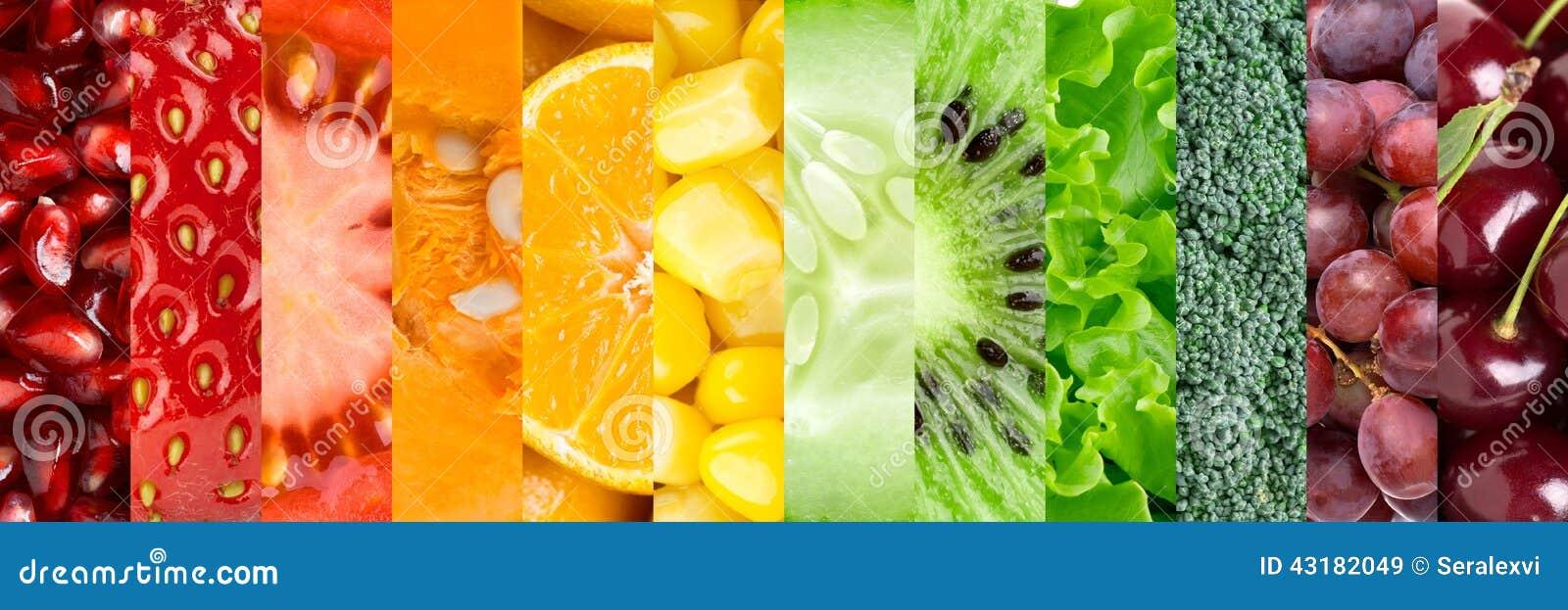 Inzameling met verschillende vruchten en groenten