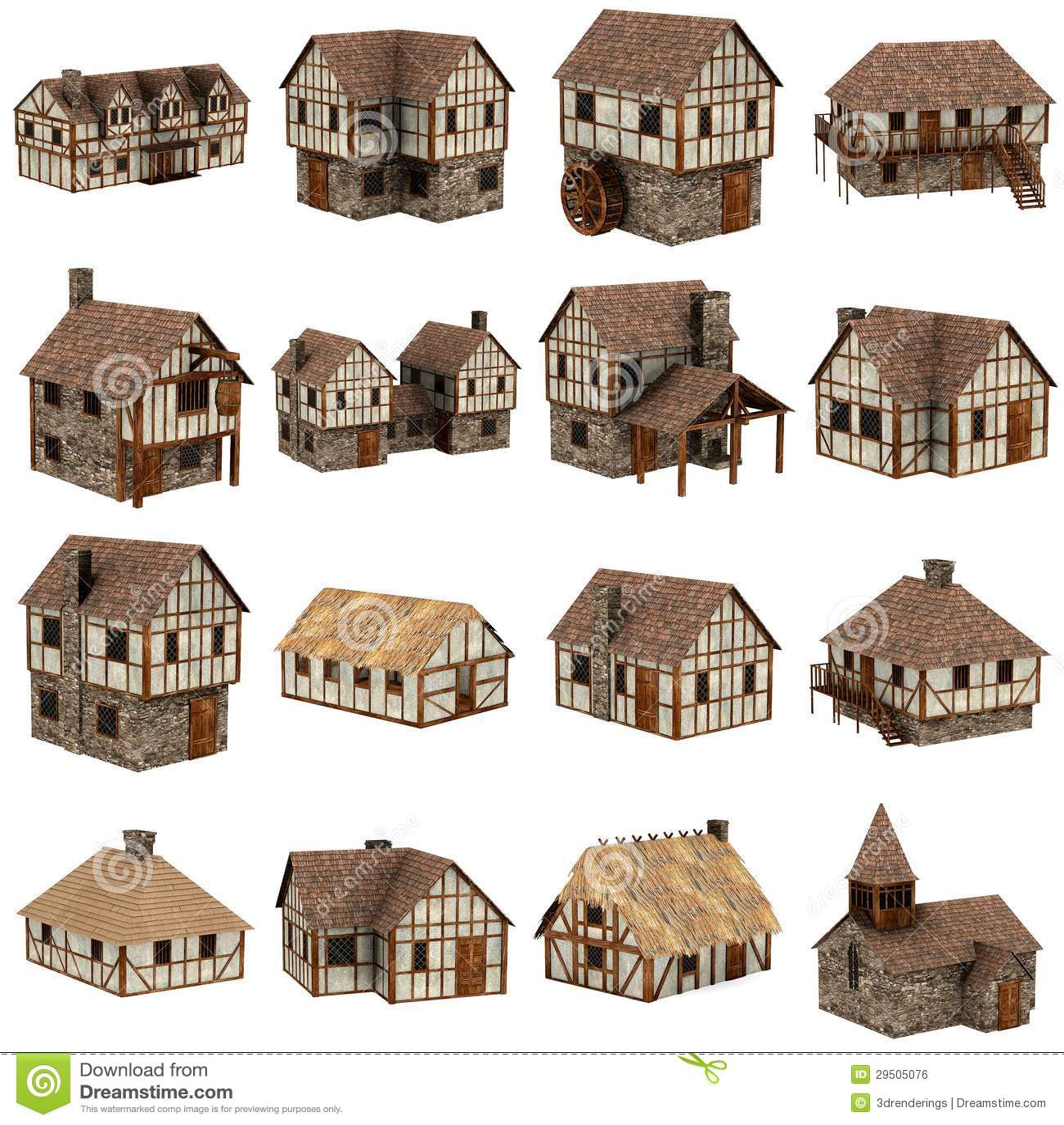 Inzameling van 16 middeleeuwse huizen