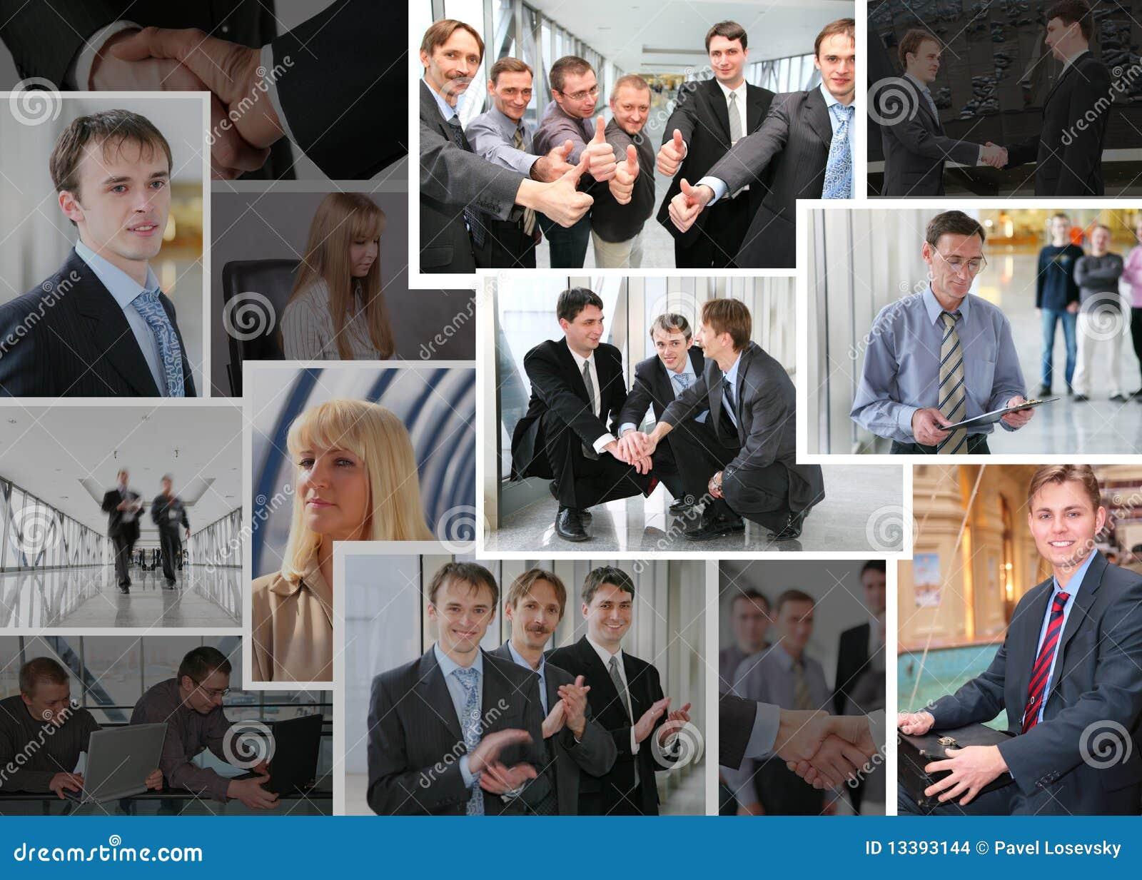 Inzameling van bedrijfsfoto s met mensen, collage