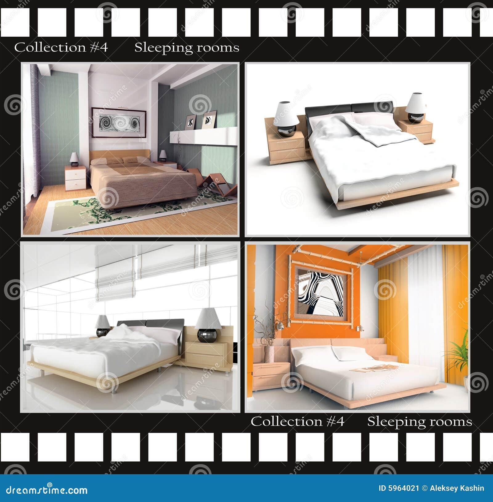 Inzameling van beelden van slaapruimten