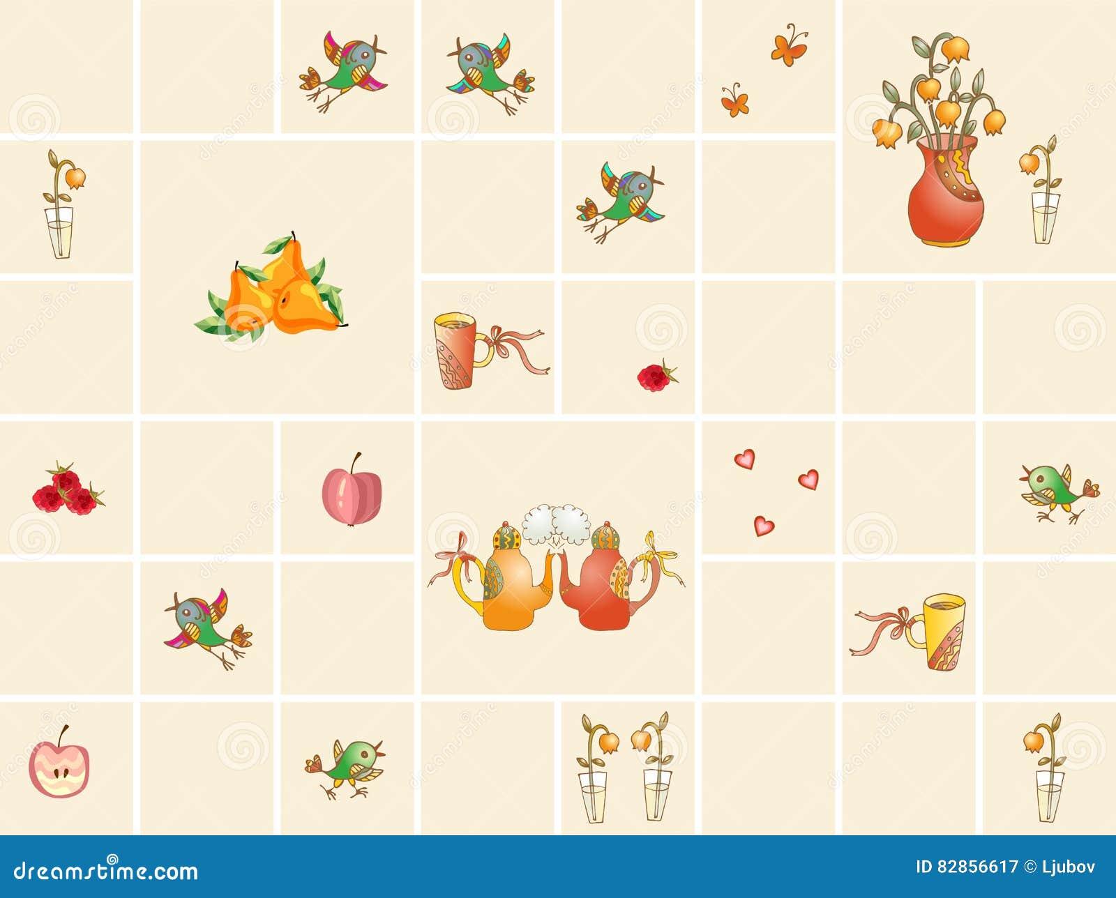 Keukentegels Met Afbeeldingen : Inzameling Van Ceramische Keukentegels Met Theepotten