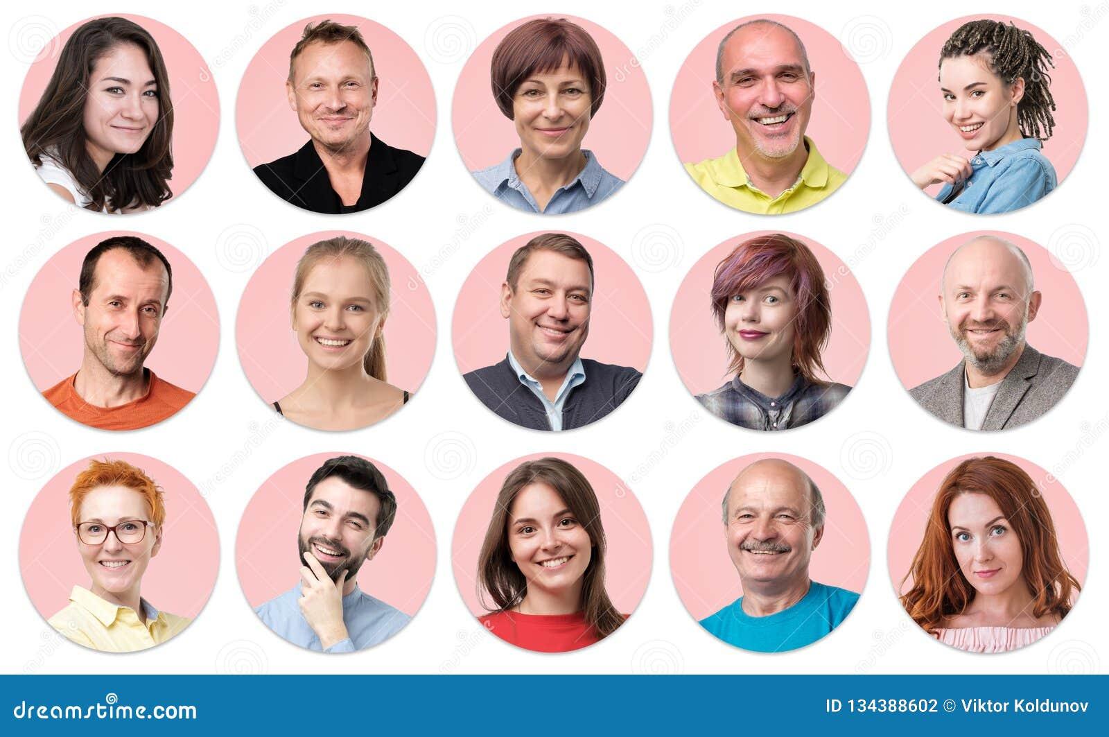 Inzameling van cirkelavatar van mensen Jonge en hogere mannen en vrouwengezichten op roze kleur
