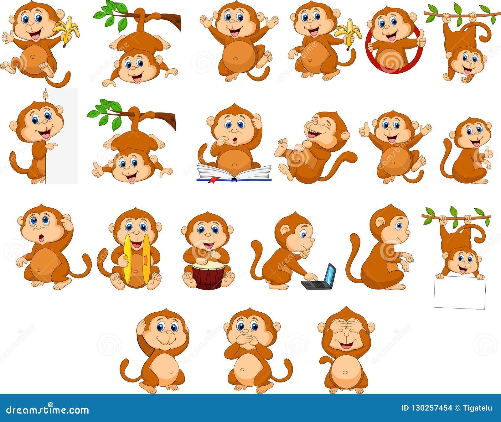 Inzameling van de beeldverhaal de gelukkige aap met verschillende acties
