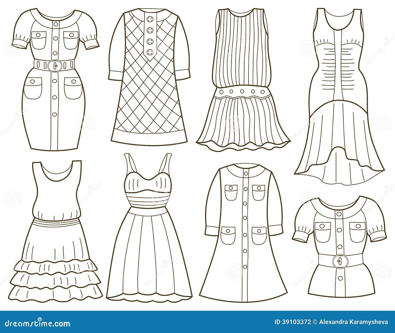 Inzameling van de kleding van modieuze vrouwen