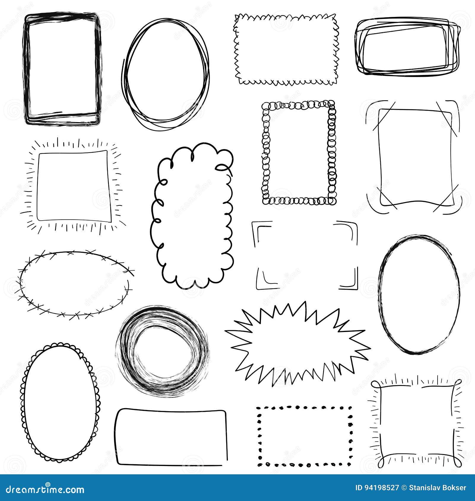 Inzameling van decoratieve zwarte hand getrokken kaders op witte achtergrond Eenvoudig, grunge, schets en krabbelstijl