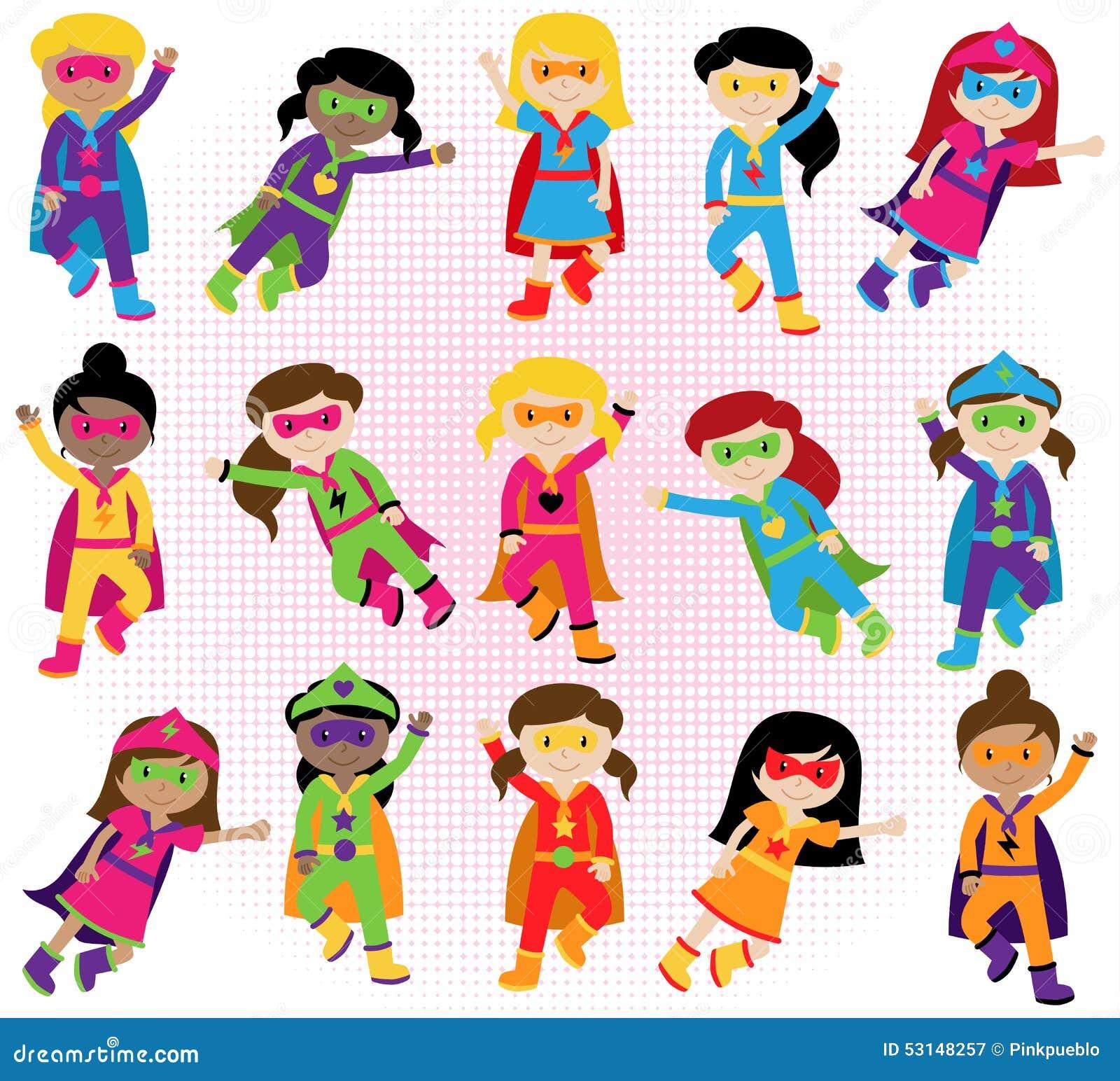 Inzameling van Diverse Groep Superhero-Meisjes
