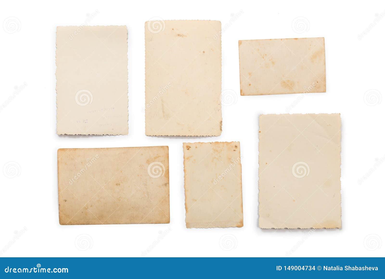 Inzameling van diverse oude foto s op witte achtergrond Elke is afzonderlijk ontsproten