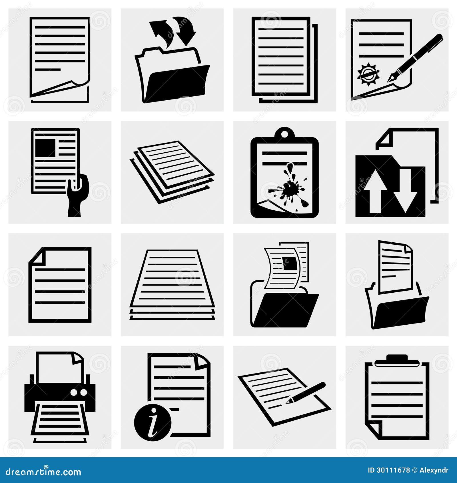 De pictogrammen van het document, document en de reeks van het dossierpictogram