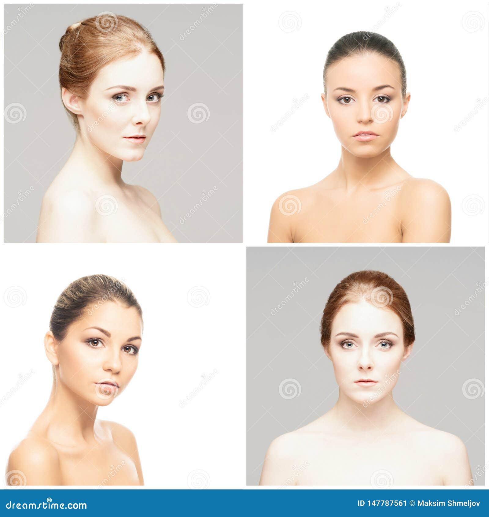 Inzameling van female spa portretten Gezichten van verschillende vrouwen Gezicht die, skincare, samenstellingsconcept opheffen
