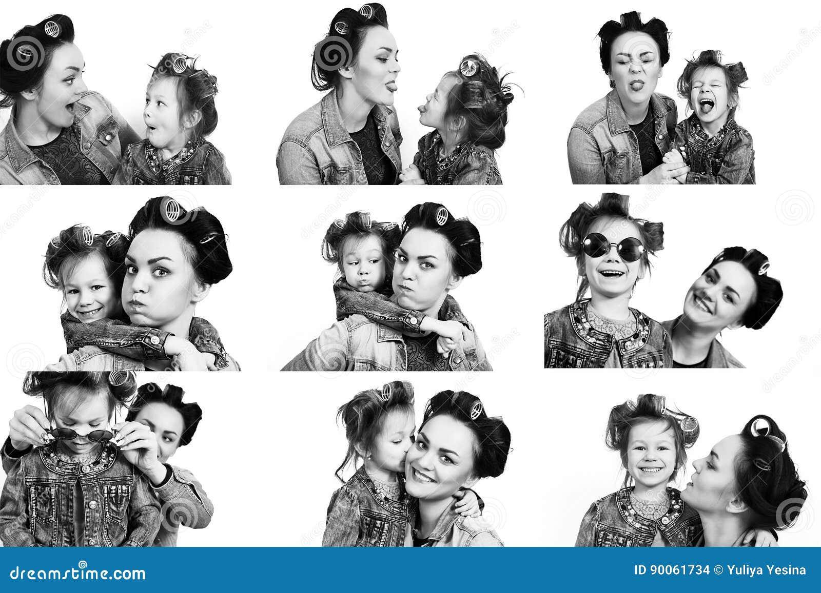 Inzameling van foto smeisje en haar moeder in haarkrulspelden