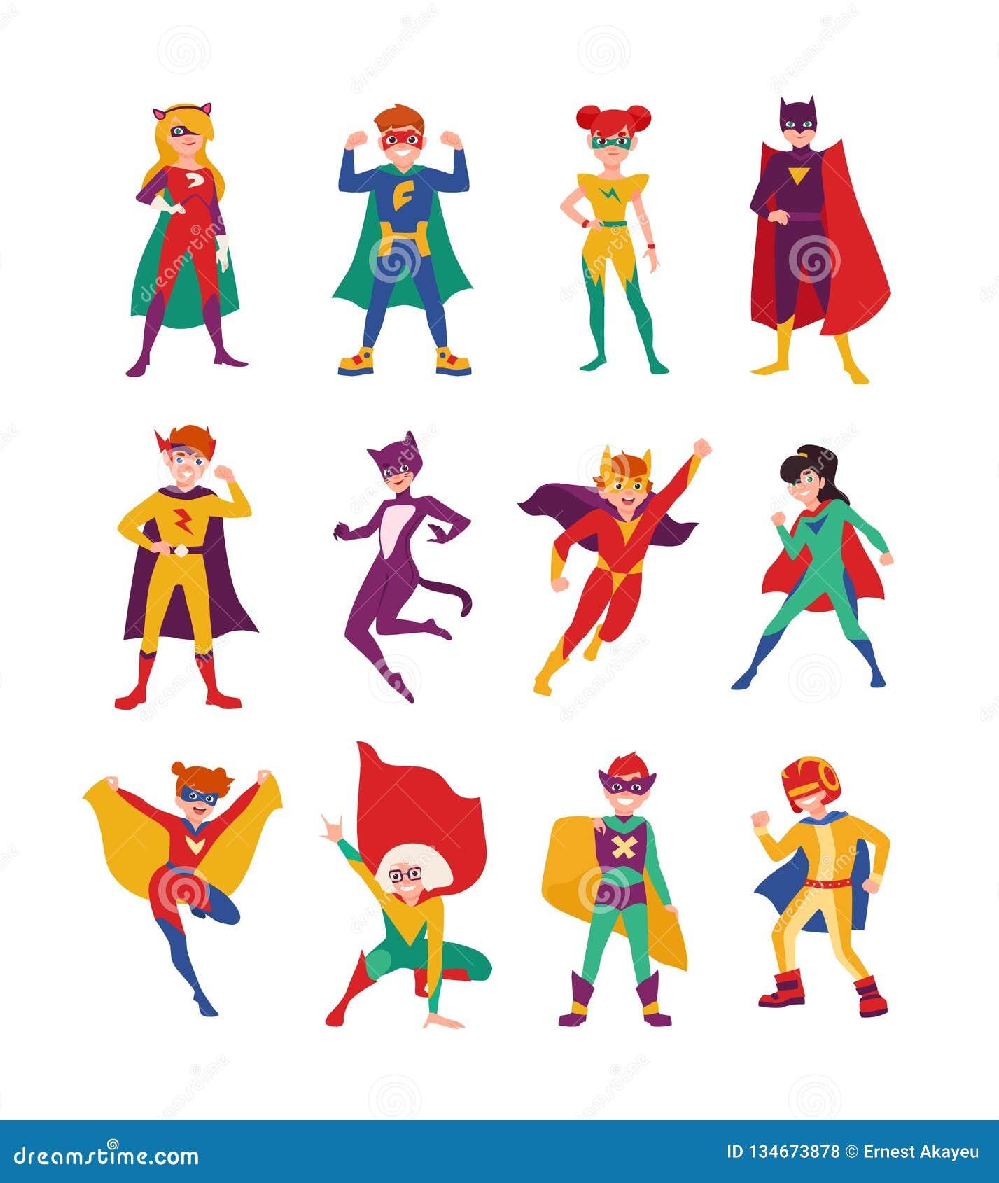 Inzameling van jonge geitjes superheroes Bundel van jongens en meisjes met super bevoegdheden Reeks van het sterke en moedige kin