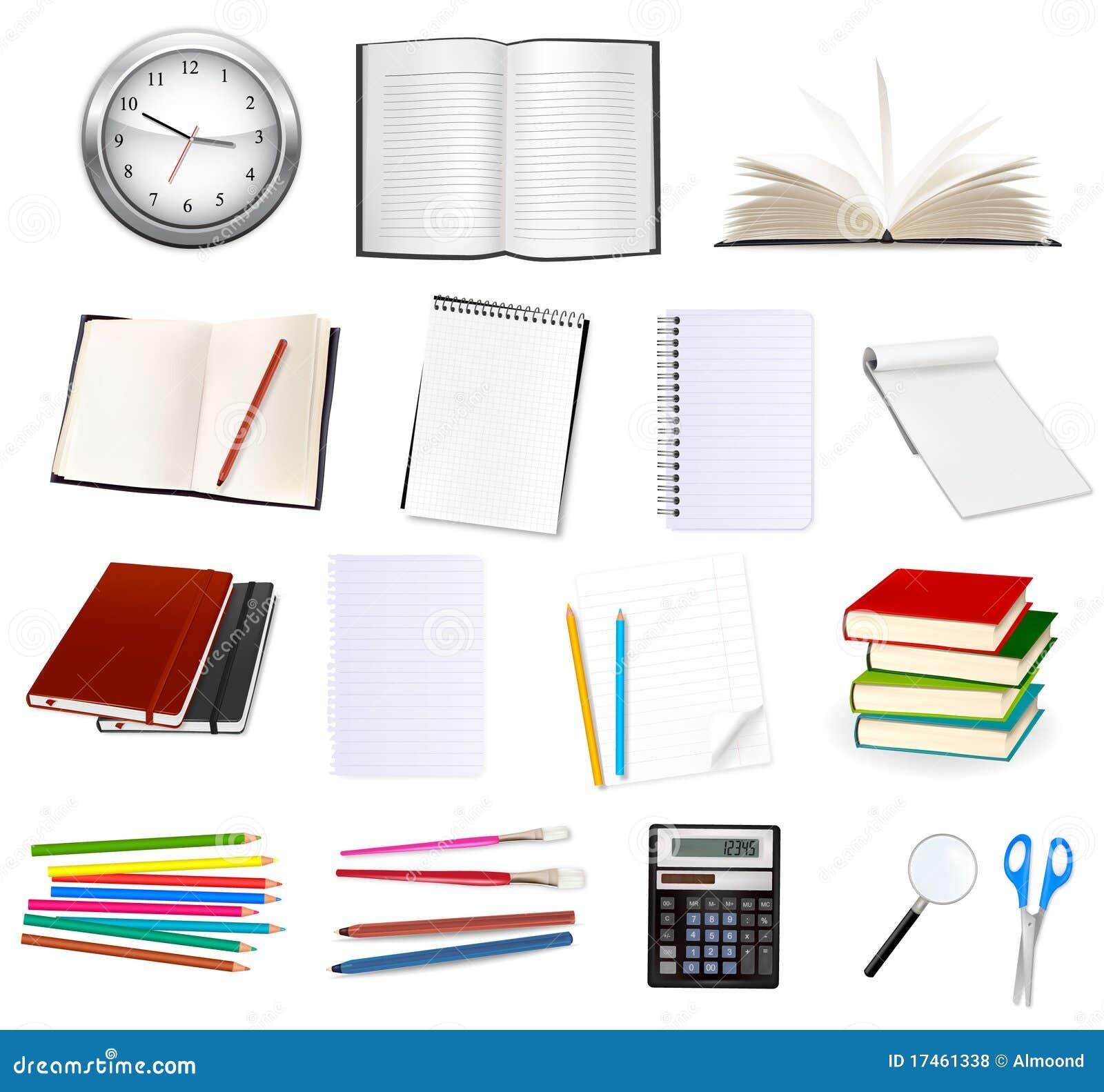 Inzameling van kantoorbehoeften voor het bureau. Vector.